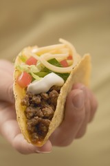 Hand holding taco filled with mince and cheese