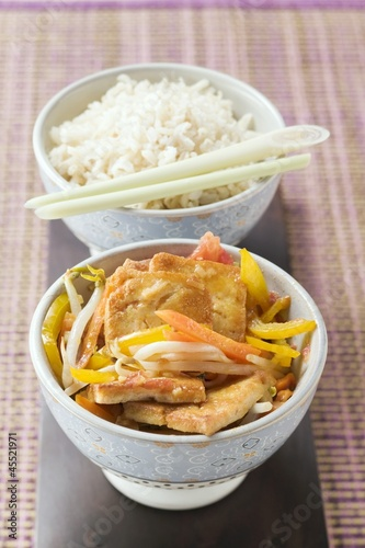 Fried tofu with vegetables and rice (Asia)