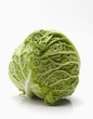 Whole Head of Cabbage on White Background