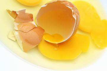 Broken egg with egg yolk