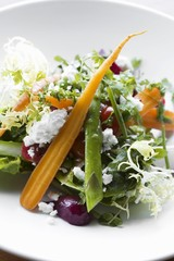 Frisee Salad with Carrots, Asparagus, Beets and Feta