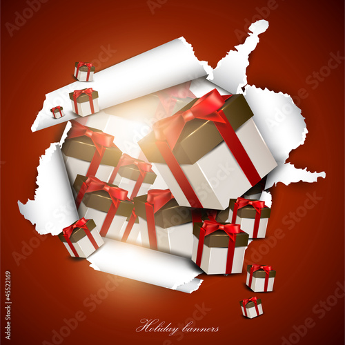 Torn paper with gift boxes. Holiday background