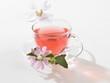Hollyhock tea in cup, close-up