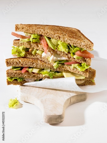 A chicken and avocado sandwich