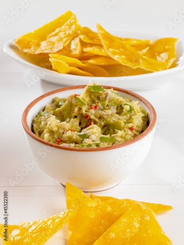 Bowl of Guacamole with Chips