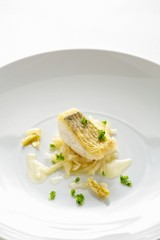Fried zander with kohlrabi