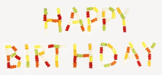 'Happy Birthday' written in Gummi bears
