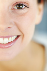 Closeup of beautiful woman's smile