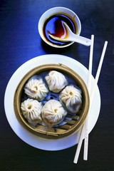 Dim sum in bamboo steamer (China)