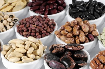 Various types of beans in bowls