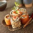 Lobster Sushi Rolls on a Plate; Chopsticks