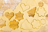 Biscuit dough with cut-out biscuits