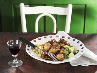 Beef ragout with sweet chestnuts and port wine