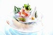 Scampi salad served on dry ice