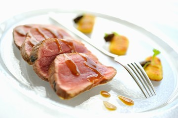 Veal fillet with gravy and gnocchi