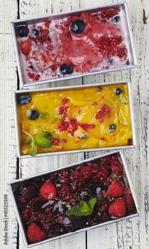 Three Assorted Homemade Sorbets; From Above