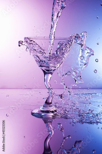Martini Splashing Into a Glass