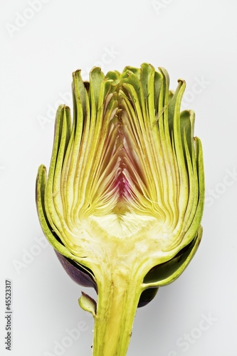 Half an artichoke on a white surface