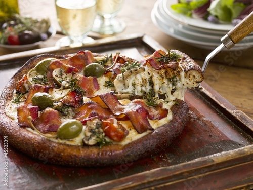 Bacon, Caper and Mushroom Pizza
