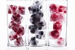 Three glasses with various berry ice cubes