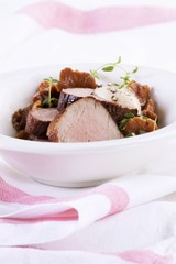 Pork fillet with chanterelle mushrooms