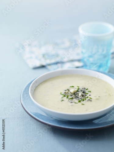 Cream of celery soup with blue cheese