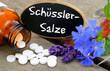 Schüsslersalze mit Tafel und Blüten