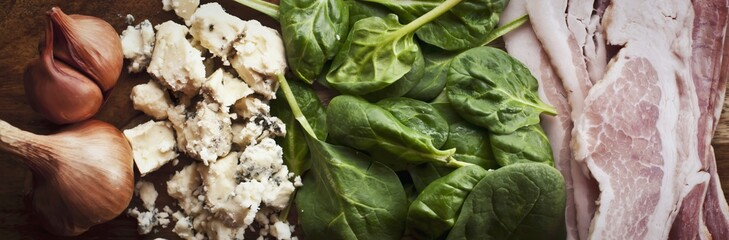 Raw Ingredients for a Spinach Salad