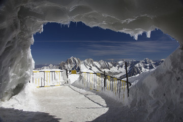 Ice cave at Aguille Du Midi,Mont Blanc