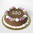 Chocolate Frosted Birthday Cake with the Number 100 On It
