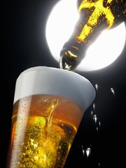Beer being poured into a glass