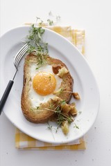 A slice of bread topped with scrambled eggs and cress