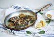 Pan fried plaice with lemons, sage and onions