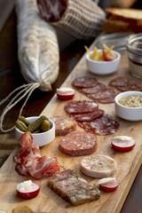 Planchette de Charcuterie; Wild Boar Salami, Pates and Terrines; Pickles