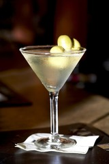 Martini with Green Olives; On a Cocktail Napkin
