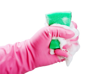 gloved hand squeezes a sponge for cleaning