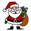 Cartoon Santa Claus hand writing,