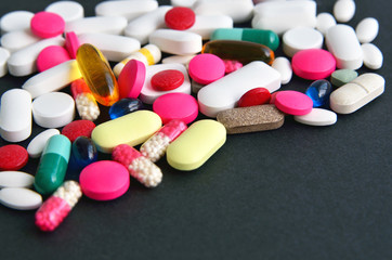 Assorted colored pills and capsules