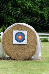 Archery shooting target on the stray roll