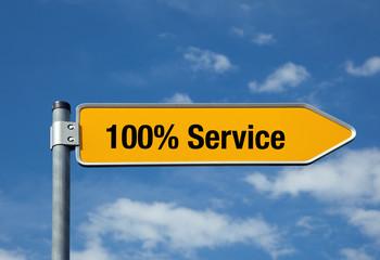 Pfeil mit blauem Himmel 100% SERVICE