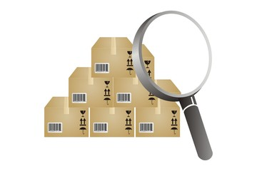 boxes and magnifying glass to find inventory analyzing