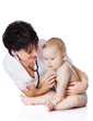 beautiful doctor and baby on a white background.
