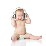 Fototapety baby with headphone. young DJ