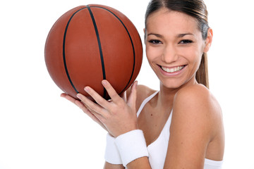 Brunette holding basketball