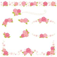 薔薇とパールのデコレーション