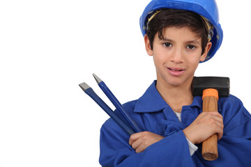 kid dressed as manual worker