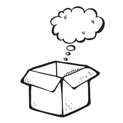 Illustration of box with thought bubble