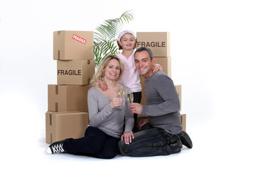Family celebrating on moving day
