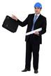 construction businessman holding a blueprint and a briefcase
