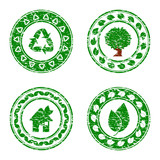 Vector illustration of a set of green environmental icons isolat